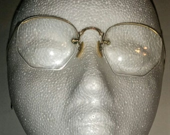 Vintage 1/10 12k Gold Filled Rimless Numont Fulvue Ful Vue C24S Bifocals, Eye Glasses, Eye Wear. Flexible Ear Loops. Detailed Etched Work