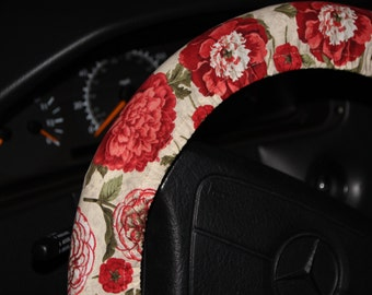 Floral Steering wheel cover - White with red flowers wheel cover - Car accessories - Women's wheel cover - Elegant wheel cover .