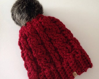 Crochet womens hat, cable hat, crochet pompom hat, crochet adult hat, faux fur pompom