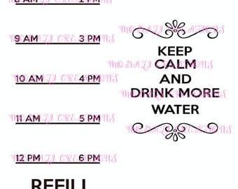 Keep Calm and Drink More Water 2nd Version SVG File