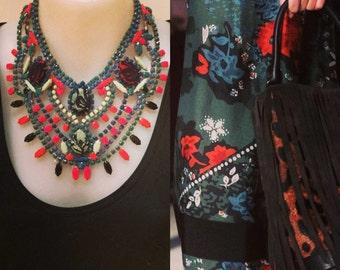 FESTIVE THISTLE painted rhinestone bib necklace