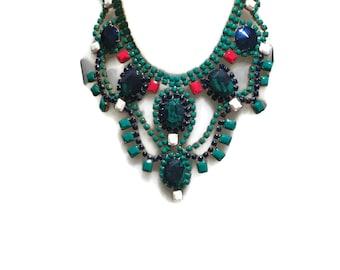 SHERATON green blue white and red inspired by Marni resort 2015 hand painted rhinestone statement bib neckl