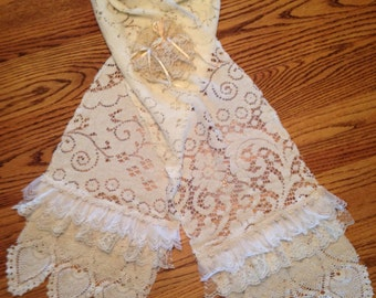 Romantic Shabby Chic Lace Scarf - Original Not2Shabbee Design -Handmade with Layers of Vintage Lace and doilies Scarf - Vintage Boho Scarf