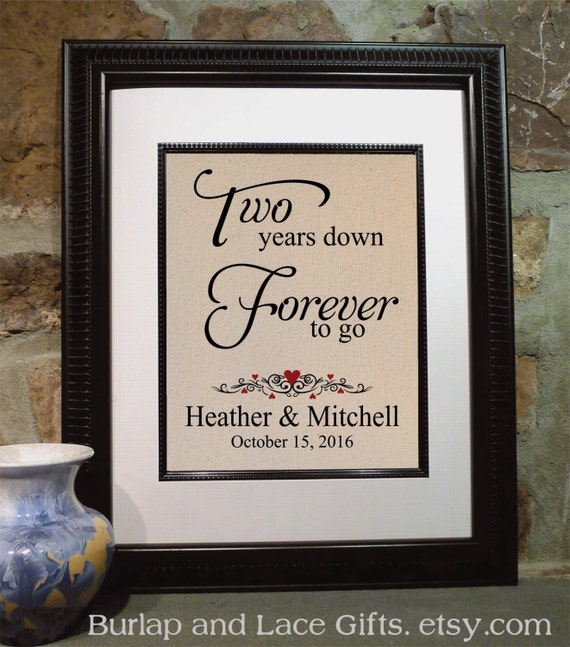 2nd Wedding Anniversary Gift Ideas For Her Uk : Gift for Him, 2 Years DownForever to Go, Anniversary for Her, Gift ...