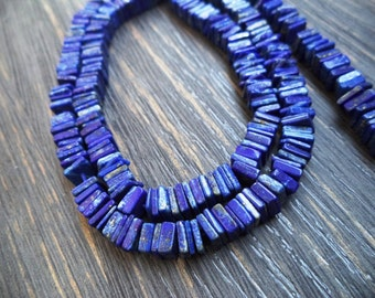 "60% off Natural Lazuli Lapis Smooth Square Heishi Cut Beads, Finest Quality, Full 16"" Strand, 5.5-6 mm Size"