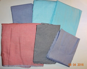 Lot of Assorted Gingham Check Cotton Fabric Pieces - Approx. 4 1/2 Pounds
