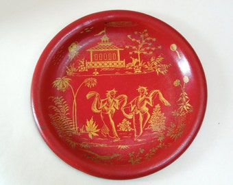 SALE Asian Metal Plate, Geisha dansing in garden, temple, red gold, chinese Japanese asian vintage antique collectible, Zhao Huimin,