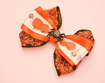 Handmade Halloween Orange  Pumpkin Spider  with Kanzashi Flower