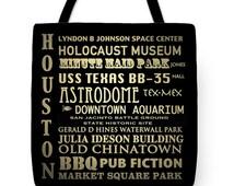 Houston Texas Tote, Houston Tote, Houston Gifts, Houston Canvas Tote, Famous Landmarks Tote Bag, Canvas Tote, Travel Bag, Reusable Tote