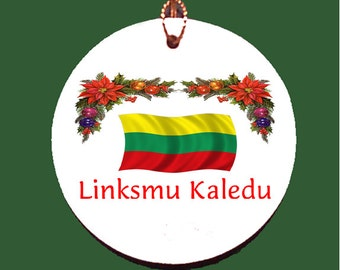 Lithuanian Linksmu Kaledu Porcelain Christmas Ornament