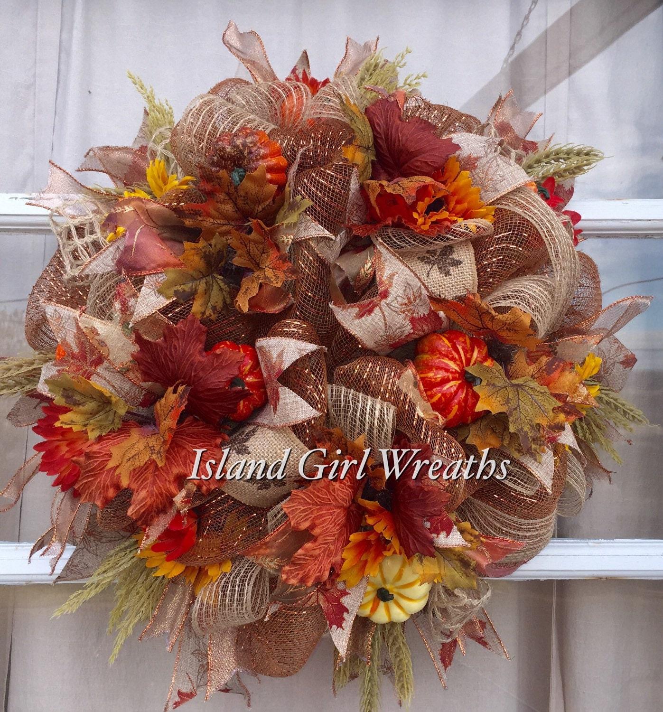 Fall Deco Mesh Wreath Thanksgiving Deco Mesh Wreath Autums