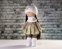 Doll Emily. Tilda doll.  Textile doll. Soft toy. Cute gift