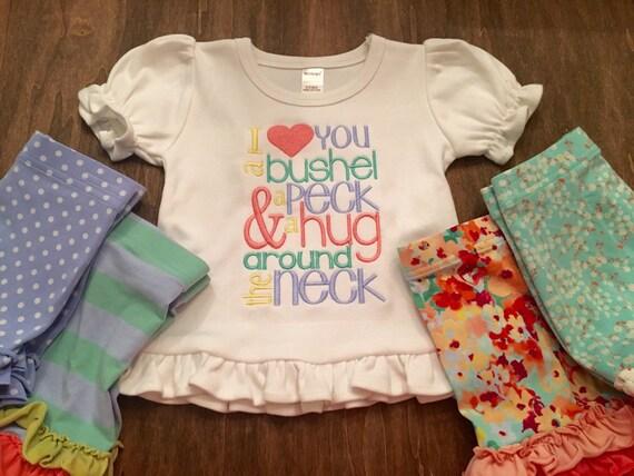 I love you a bushel & a peck... M2M Matilda Janes Shorties Embroidered Ruffle Shirt