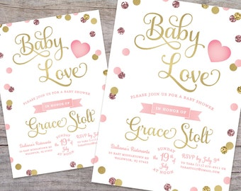 Baby Love Pink Glitter and Gold Baby Shower Invitation with Free Shipping or DIY Printable