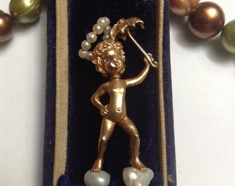 Cupid Brooch Blue Sapphire eyes w/box - Whimsical Pearl Cloud Angel Gold Brooch M.HIMES - collectible -