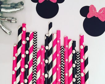 Minnie Mouse inspired paper straw pack, multipack of 25