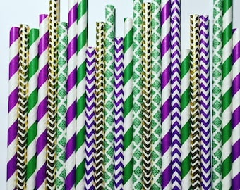 Mardi Gras paper straw pack, multipack of 25