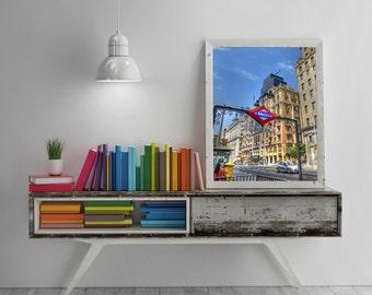 Photo Metro Gran Via, Madrid, Spain. Artistic, urban, architecture, blue, red, warm, Street Photography