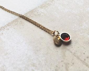Necklace Garnet Stone / Goldfilled 18K / JN17