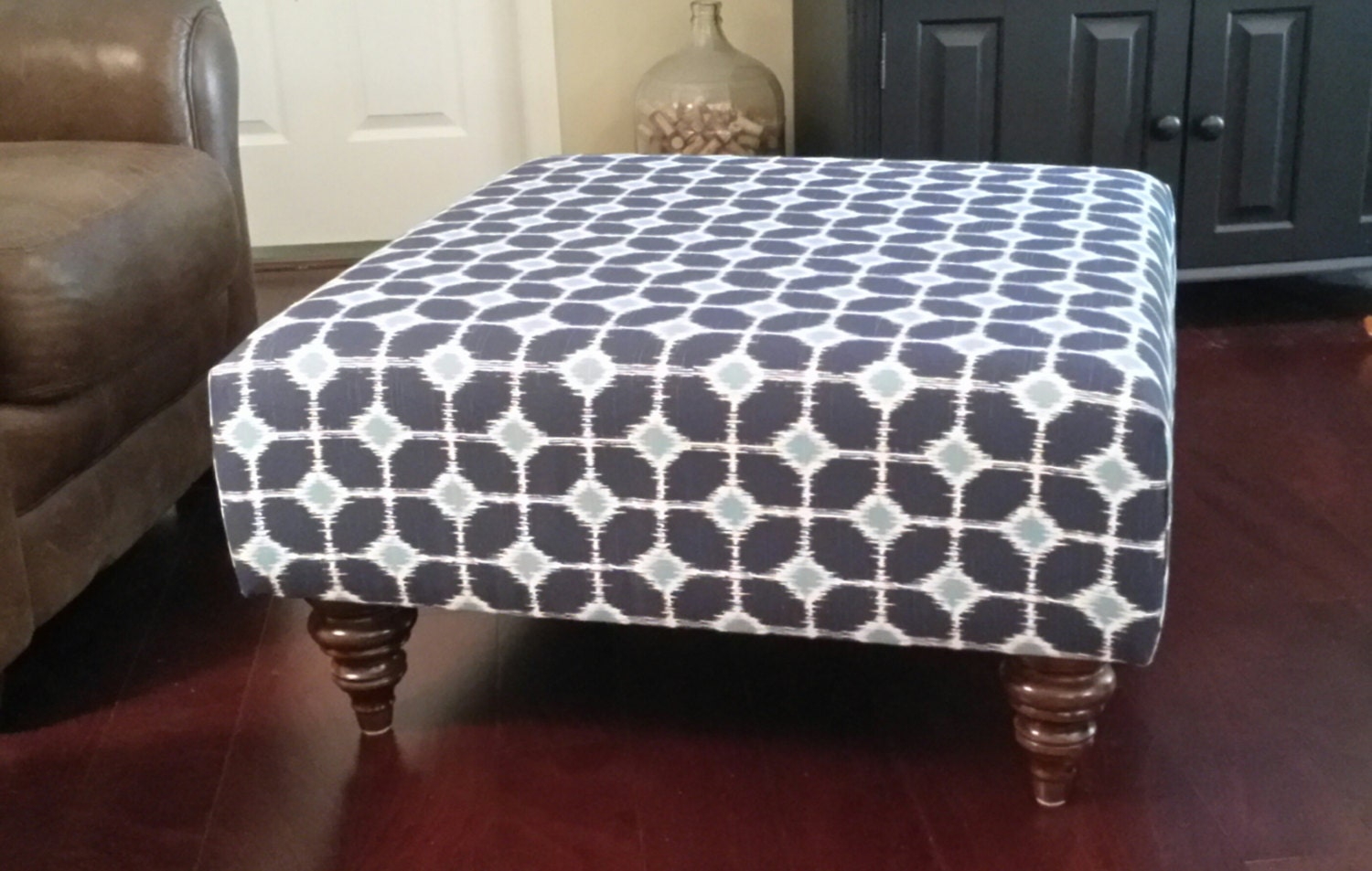 Upholstered Ottoman Coffee Table Blue And White By Theedenshouse