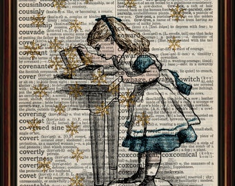 Alice in wonderland box and stars. vintage Mounted Art Print. An original antique, ,dictionary book page.