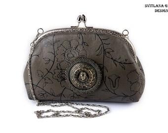Gray leather purse Mini evening bag viking Valkirie women Kiss lock frame ipone cellphone handbag Elegant ladies phone purse grey For her