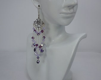Amethyst and Crystal Gemstone Chandelier Earrings