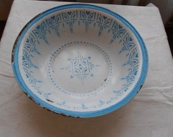 A rare large French vintage enamelware bowl with robin's egg blue decor