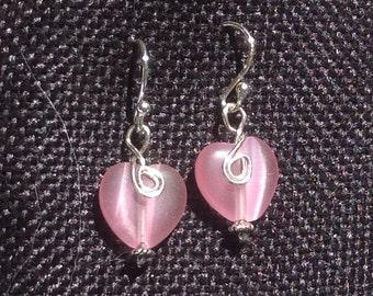 Pink Heart Cats Eye Drop Earrings