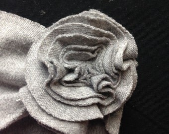 Baby Girl soft flower headband, ear warmer, cotton knit, charcoal gray, hand-sewn