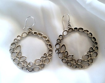 Leaf earrings , big silver earrings  , silver earrings , sterling silver  earrings , flower earrings , simple earrings , Nature Earrings