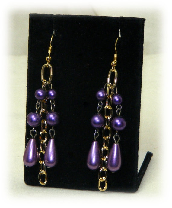 Beautiful PURPLE PEARL EARRINGS