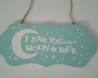 hand painted hanging sign, for child's room or nursery
