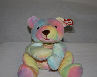 """SALE! RARE! Ty Original Pillow Pal """"Shebet"""" Yummy Colored Bear in All Pastels. Looks Good Enough to Eat!"""
