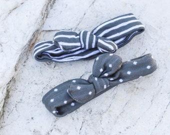 Adjustable Baby Headband Set (Grey Striped and Polka Dot and Stretchy)