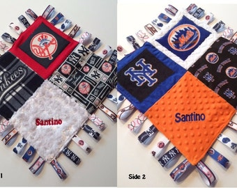 "Yankess METS Combo Baby Sensory Ribbon Security Blanket Lovey with Tags 16""x16""  New York BASEBALL Team inspired"