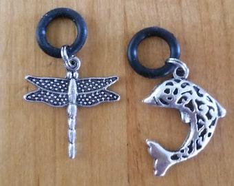 Vape (Vapor) Pen Charms - set of 2 (Dragonfly & Dolphin) for vape pen, tank, cartomizer or e cigs