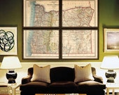 "Oregon map 1897, XL vintage map of Oregon state, 6 sizes up to 72x60"" 180x150 cm in 1 or 4 parts, also in blue - Limited Edition of 100"