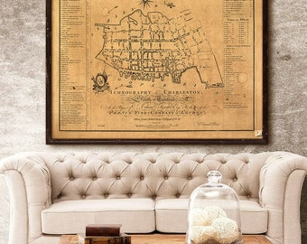 "Charleston map 1788, Old map of Charleston SC, 4 sizes up to 48x36"" Charleston Wedding, also in white, or blue - Limited Edition - Print 49"