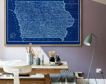 """Iowa map 1885 Vintage map of Iowa state Poster in 4 sizes up to 54x36"""" Large map of Iowa state, also in blue - Limited Edition of 100"""