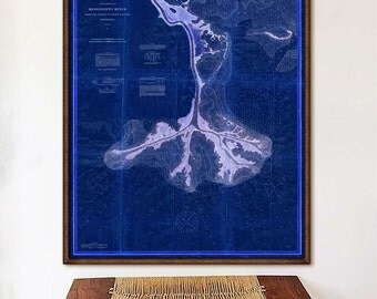 "Mississippi Delta map 1874 Vintage map of Mississippi River Delta, LA in 4 sizes up to 36x45"" also in blue - Limited Edition - Print 2"