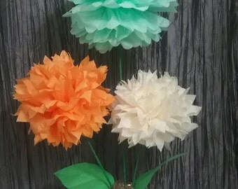 Paper flowers centerpiece.