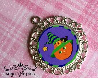 Halloween Pendant - Pumpkin Pendant - Halloween Charm - Halloween Pumpkin Necklace Pendant - Jack O Lantern Pendant