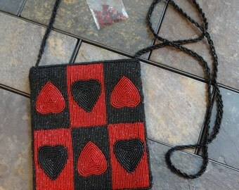 Beaded Red and Black Heart Shoulder Bag beaded shoulder strap with Zipper Closure