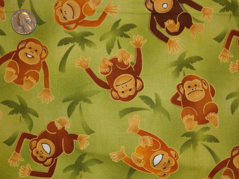 Monkeys jungle over the rainbow robert kaufman cotton for Boys cotton fabric