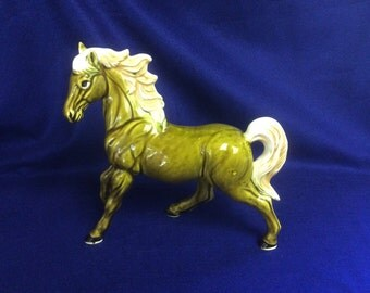 Vintage Green Majestic Stallion Large Figurine Horse. Made in Japan 1960's