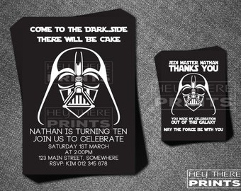 Darth Vader Birthday Invitation and Thank You Card - Star Wars