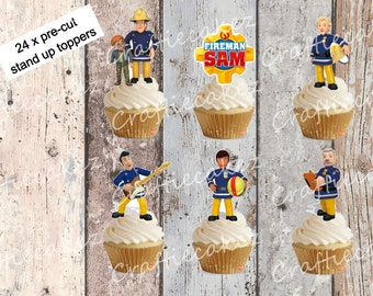 24 x Pre Cut Edible Fireman Sam Stand Up Cupcake Toppers