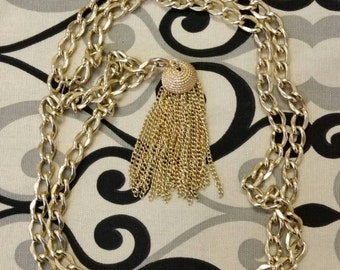 Vintage Gold Tassel Pendant on Gold Tone Chain 1970 Style