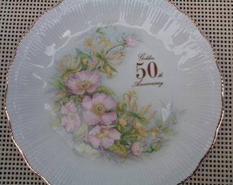 Vintage Golden Anniversary Plate, 50th Wedding Celebration Gift, Fine Porcelaine, Made in Poland, Floral Design